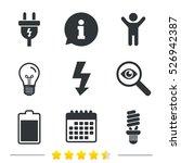 electric plug icon. fluorescent ... | Shutterstock .eps vector #526942387
