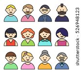 set of people icons with faces. ... | Shutterstock .eps vector #526948123