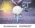 double exposure golfer putting... | Shutterstock . vector #526986307