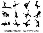 silhouettes of breakdancers.... | Shutterstock .eps vector #526991923