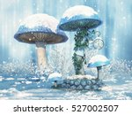 Fantasy Blue Mushrooms And A...