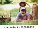 family having fun and picnic in ... | Shutterstock . vector #527010157
