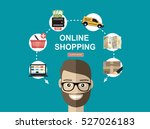 online shopping concept. set... | Shutterstock .eps vector #527026183