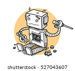 broken robot fix technology. a... | Shutterstock .eps vector #527043607
