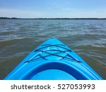 Front Of A Blue Kayak On A Lake