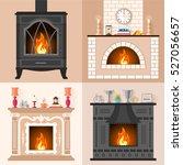 vector set of fireplaces in... | Shutterstock .eps vector #527056657