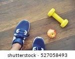 fitness equipment.sneakers... | Shutterstock . vector #527058493