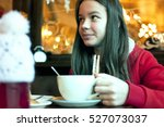girl with a cup of tea in a... | Shutterstock . vector #527073037