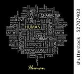 human. word collage on black... | Shutterstock .eps vector #52707403