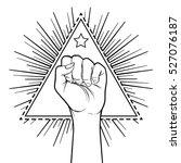 human hand raised up over... | Shutterstock .eps vector #527076187