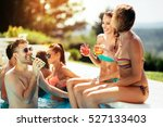 young people drinking cocktails ... | Shutterstock . vector #527133403