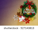 merry christmas word with gift... | Shutterstock . vector #527143813