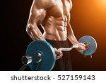 muscular man lifting weights... | Shutterstock . vector #527159143