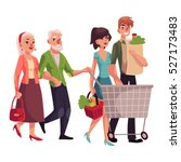 old and young couples shopping... | Shutterstock .eps vector #527173483