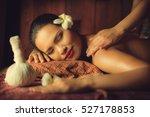 masseur doing massage on asian... | Shutterstock . vector #527178853