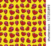 lips and broken hearts seamless ... | Shutterstock .eps vector #527201893