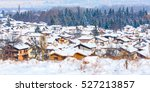 houses with snow roofs panorama ... | Shutterstock . vector #527213857