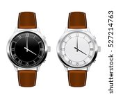 classic men's watch with brown... | Shutterstock .eps vector #527214763