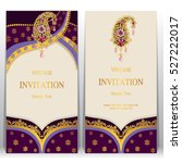 indian invitation card  pattern ... | Shutterstock .eps vector #527222017