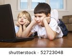 two brother using computer ... | Shutterstock . vector #52723048