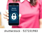 female hands hold mobile... | Shutterstock . vector #527231983