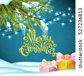 merry christmas card with... | Shutterstock .eps vector #527236813