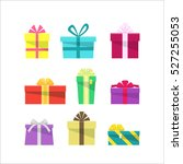 set of colorful flat gift boxes.... | Shutterstock . vector #527255053