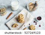 oatmeal cookies with cranberries | Shutterstock . vector #527269123