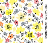 vector floral pattern in doodle ... | Shutterstock .eps vector #527293603
