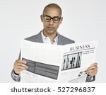 Small photo of Businessman Reading Newspaper Article Journal Concept