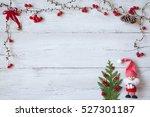 christmas wooden background... | Shutterstock . vector #527301187