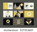 set of artistic creative merry... | Shutterstock .eps vector #527313607