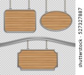 vector empty wooden hanging... | Shutterstock .eps vector #527327887