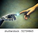 human hand touching an android... | Shutterstock . vector #52734865