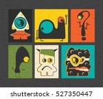 set of six retro postage s... | Shutterstock .eps vector #527350447
