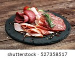 food tray with delicious salami ... | Shutterstock . vector #527358517