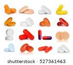 Set Of Different Pills Closeup...