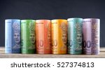 row of malaysia ringgit on... | Shutterstock . vector #527374813