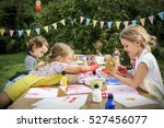 kid learning painting drawing... | Shutterstock . vector #527456077