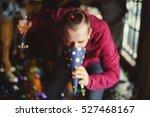 drunk man vomit party hat... | Shutterstock . vector #527468167