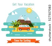 summer travel card with red... | Shutterstock . vector #527507083
