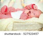 Newborn Baby Sleeps On White...