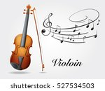 Violin And Music Notes On Whit...