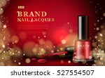 red nail lacquer ads  glossy... | Shutterstock .eps vector #527554507