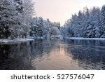 River In Winter And Tree...