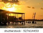 Stock photo watching the sunset from a hammock in the san blas islands panama 527614453