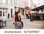 pretty fashion model in coat.... | Shutterstock . vector #527649007