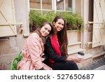 beauty girls in coats are... | Shutterstock . vector #527650687