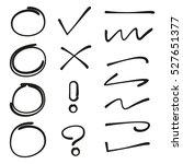 hand drawn circles  check mark... | Shutterstock .eps vector #527651377