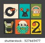 set of six retro postage s... | Shutterstock .eps vector #527665477